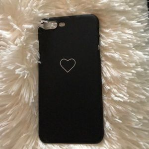 Black and white heart iPhone 8 plus phone case